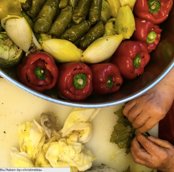 Rolling vegetables at HaMotzi restaurant in shuk Machne Yehuda
